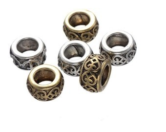 10 PC golden silver mixed color dreadlock metal beads braid cuff 8mm Hole D06
