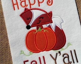 Fox Applique - Pumpkin Applique - Fall Applique - Fox Embroidery - Pumpkin Embroidery - Applique Desgin - Embrodiery Design