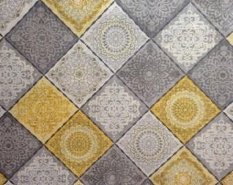One Half Yard of Fabric - Grey/Yellow Tile