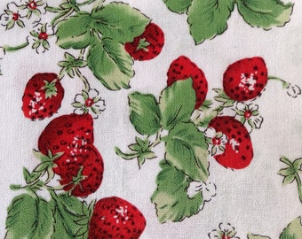 One Half Yard of Fabric Material - Strawberry Patch