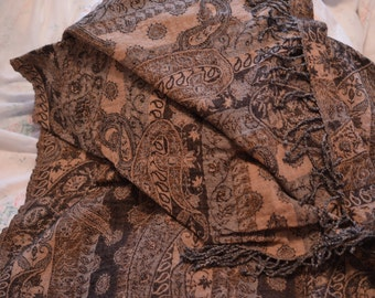 Vintage Chocolate serious/sedate formal Moroccan/Arab style scarf