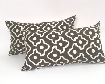 Brown and White Mid Century Lumbar Throw Pillow Cover  P-12-128