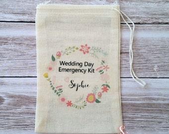 Wedding Day Emergency Kit Personalised Muslin Bags