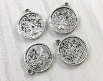 30 pcs Tree of Life Charm , Tree of Life Pendant  17 mm Antique Silver