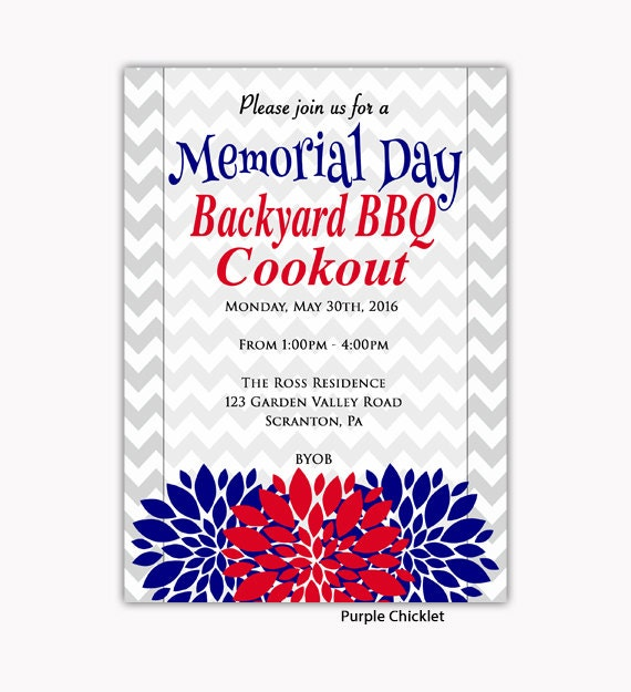 memorial day invitation 4th of july bbq cook out by