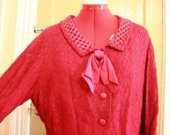 50s Raspberry Skirt Suit Size L/XL