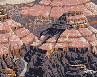 Vintage Grand Canyon Poster PDF Cross Stitch Pattern
