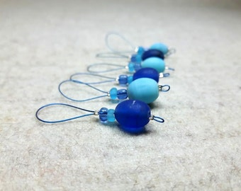 6 Stitch Markers blue, for needles up to 8 mm, 11 US