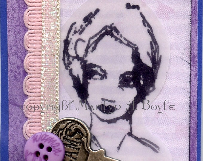 ACEO CARD - PRINT; lady, key, ribbon, button, artist's  trading cards, buy, trade, stamped, embellished, collage, 3-D, original card