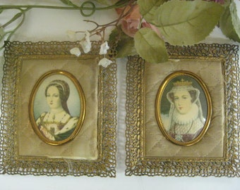 Pair Shabby Chic Vintage Miniature Oval Portraits in Filigree Frame