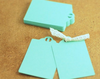 Gift tags earring cards blank mint cardstock paper with holes for ribbon