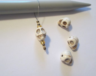 Beaded stitch markers, Stone Skulls, markers, knitting markers