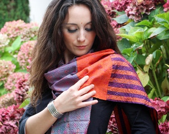 Hand embroidered patchwork stole in silk and cotton - purple-orange-pink