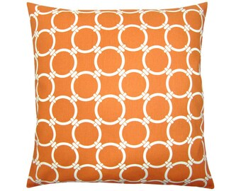 Cushion cover LINKED orange natural ring patterns graphically geometric 50 x 50 cm
