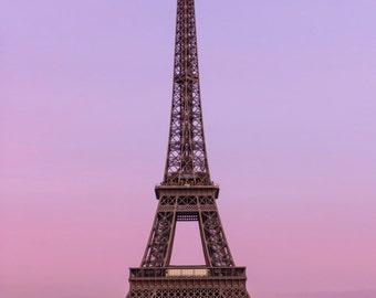 Eiffel Tower Dusk Pink Blue print 12x8 inch valentines gift idea Paris Tour Eiffel love romance