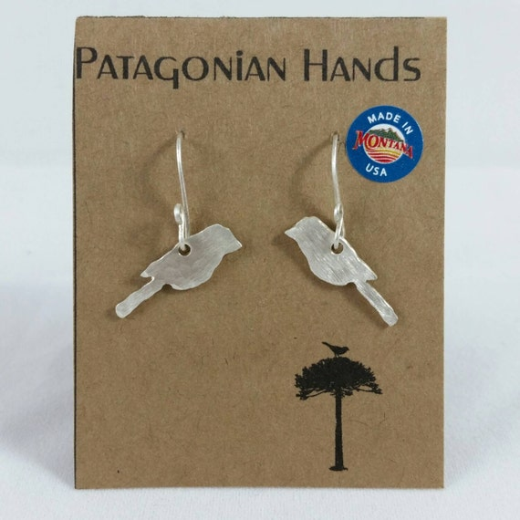 Birds Handmade, hand hammered Fine Silver (.999) earrings. Free shipping in the U. S.