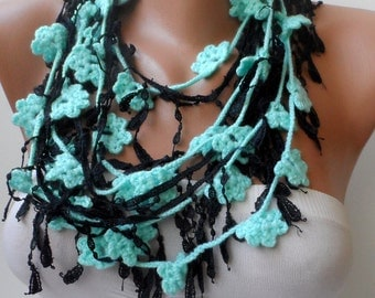 Bohemian scarfs Boho Crochet scarf Summer Crochet lariat Turquoise green lariats with black lace combination Scarflette long Gypsy scarfs