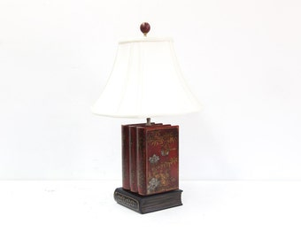 Red Lacquer Triple Book Lamp with Secret Storage Opening