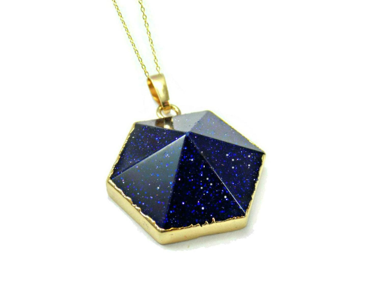 blue pendant blue goldstone necklace gemstone