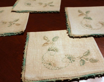 Vintage Hand Embroidered Linen Luncheon~ 4 Napkins-Textiles-Linens-Cottage-Bed & Breakfast