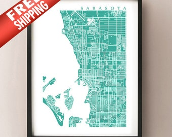 Sarasota Map Print - Florida Poster