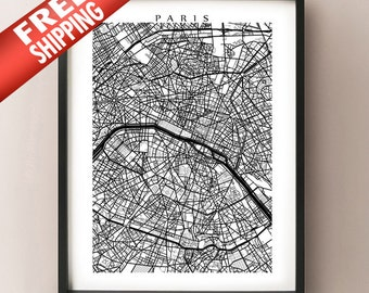Paris Map Print - Black and White Wall Art