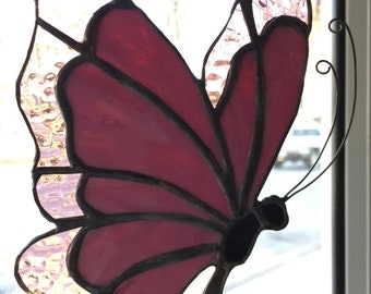 Pink and Purple Stained Glass Butterfly Sun Catcher