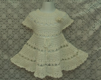 Infant white knitted dress 12M Size