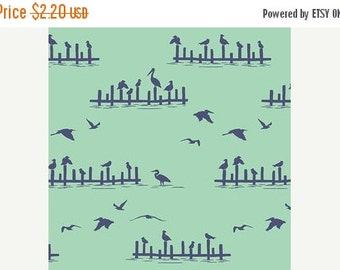 "20% OFF SALE FABRIC Remnant - Pier Pressure in Sea Glass and Indigo - Mariner - Hawthorne Threads - 5""x55"""