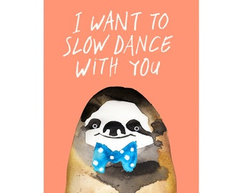 Slow Dance Sloth A3 Art Print