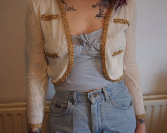 White + Gold Trim Cropped Cardi