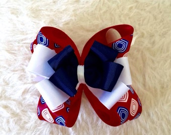 4th of July Hair Bow - Large Red White Blue Hair Bow - Red Modern Bow