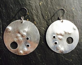 Large silver disc earrings