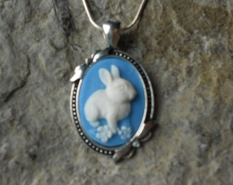"""Stunning White Bunny Rabbit (on a sky blue background) Cameo Pendant Necklace--- Easter, .925 plated 22"""" Chain--- Great Quality"""