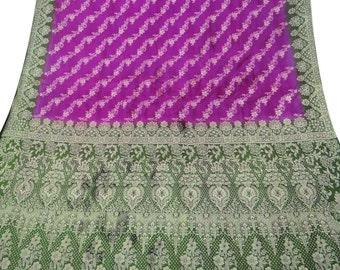FREE SHIPPING Vintage Indian  Saree Pure Silk Woven Fabric Decorative Curtain Drape Craft Sarong Used Purple Sari PSW356
