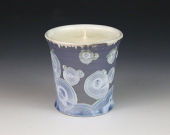 Soy Candle Crystalline 5 oz Cup Ice Blue Purple Silver Gray with White Tumbler Ocean Mist Scented #8315