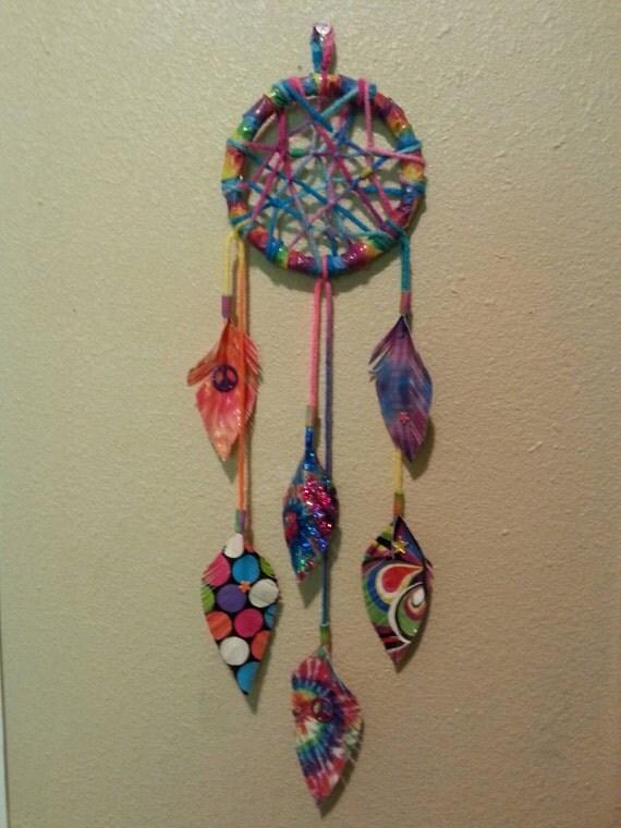 rainbow tie dye dream catcher. Black Bedroom Furniture Sets. Home Design Ideas