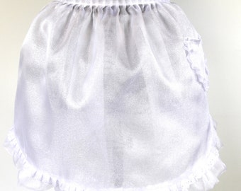 Ladies entertainment white half apron - Snow Drops