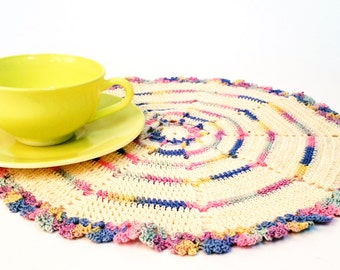 Beautiful crocheted table centerpiece in pastel colors