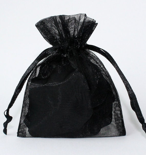 100 Black Organza Bags Sheer Favor Bags Organza Jewelry