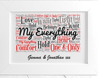 Personalised Love Framed Word Art - My Everything