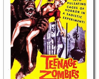 TEENAGE ZOMBIES Horror Teen Motion Picture Exploitation Movie REPRO Postcard