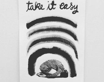 Take It Easy Screen Print // Silkscreen Poster // Self-Care, Stripes, Rest, Sleep, Yoga