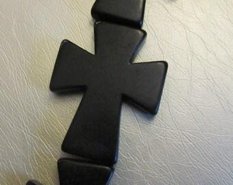40x50mm Large Howlite Cross Beads - Black - FULL STRAND