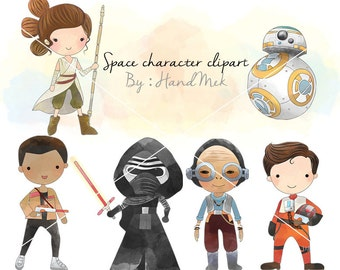 Space character clipart set 2 ,Star Wars clipart, Superhero Clipart PNG file-300 dpi