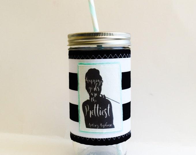 Audrey Hepburn Happy Girls Are The Prettiest Breakfast At Tiffanys Jar Tumbler 24oz with Insulated Mason Jar Cozy BPA Free Straw