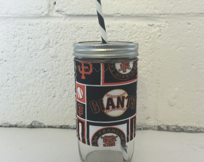 24oz Mason Jar Tumbler - San Fransisco Giants Insulated Sleeve -Cozy BPA Free Swirl Straw - Travel Mug Great Gift