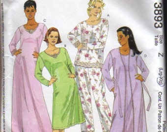 McCalls Pattern 3893 Misses Robe, Belt, Top, Nightgown and Pants  UNCUT Size L - XL
