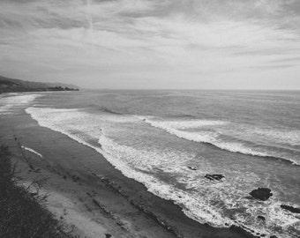 Black and White Ocean California Coast Photography - Film Look, Santa Barbara, Cliffs, Waves, Matte, Sea, Grey, Wall Art Print