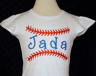 Personalized Baseball Stitching with Name Applique Shirt or Onesie Girl or Boy